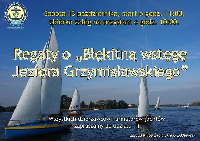 Regaty o Błękitną wstęgę Jeziora Grzymisławskiego 2018